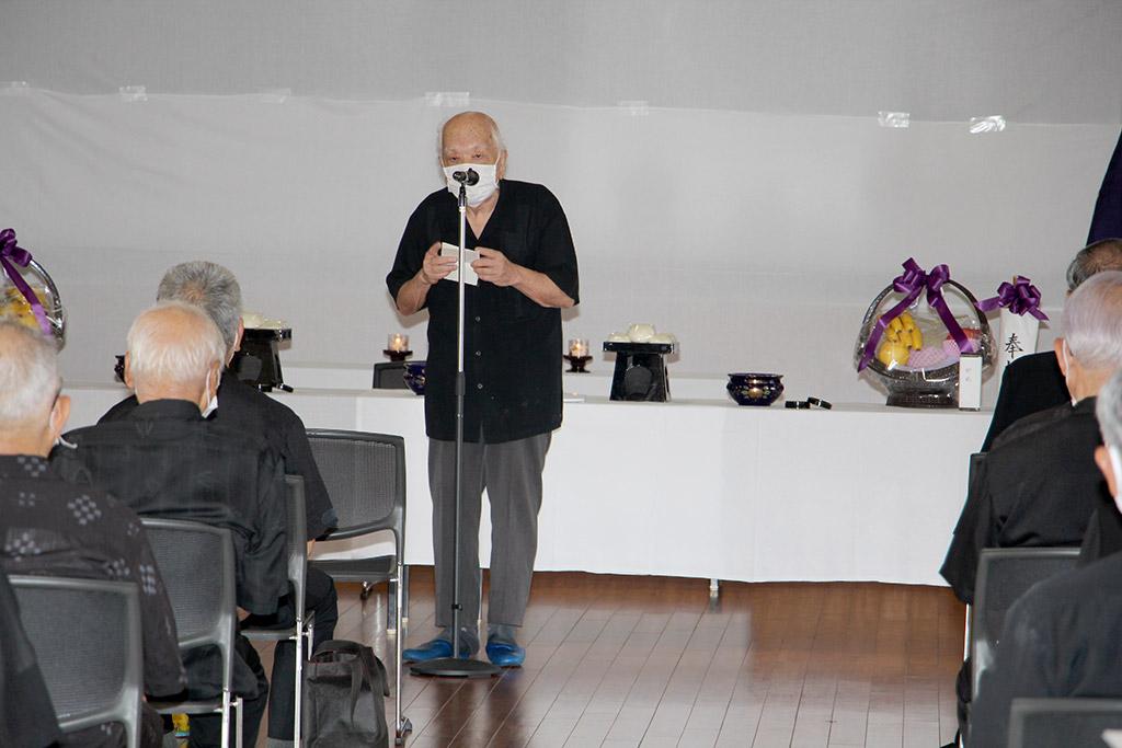 二中健児の塔慰霊祭(令和2年)・金城 恒陽遺族代表による挨拶