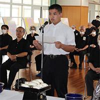 令和2年二中健児の塔慰霊祭での生徒代表 遠藤義宗君の「誓いの言葉」